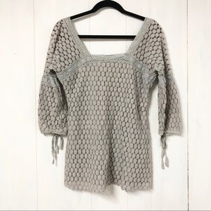 Solitaire Grey Lace 3/4 Princess Sleeve Top